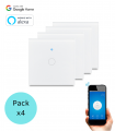 PACK 4 INTERRUPTORES TÁCTILES WIFI SIMPLES